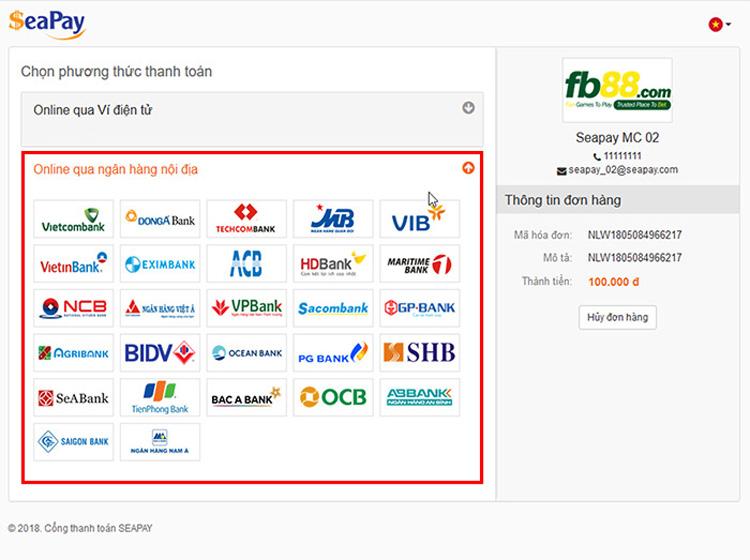 Thanh toán online qua Internet Banking ngân hàng nội địa