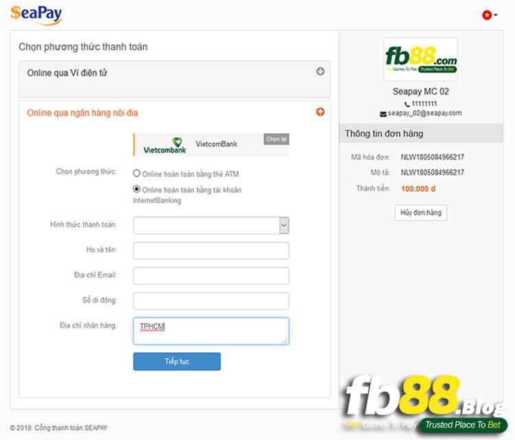 Chọn phương thức thanh toán Online