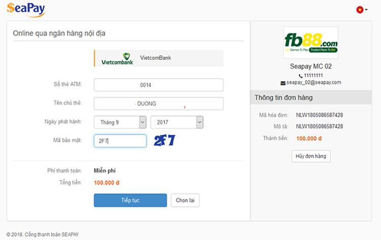 Nhập số thẻ cần nạp tiền vào FB88