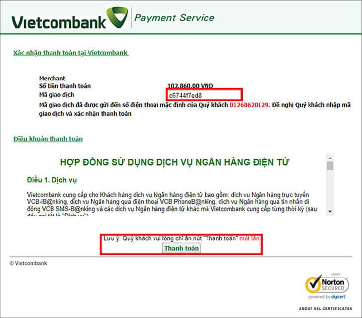 Nhập mã OTP khi nạp tiền bằng thẻ cào