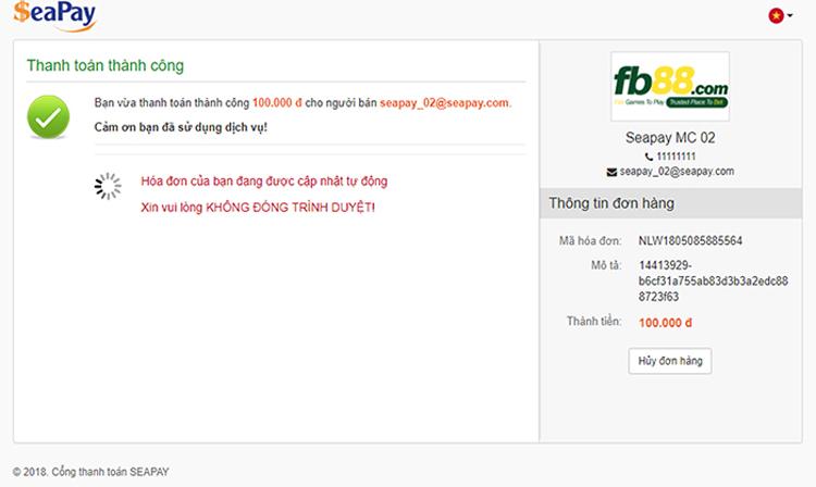 Chờ thực hiện giao dịch khi gửi tiền vào FB88