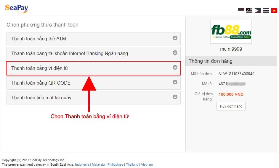 hình thức gửi tiền FB88 qua ví điện tử rất tối ưu