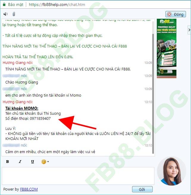 Chat với nhân viên FB88 để lấy mã số Momo Pay