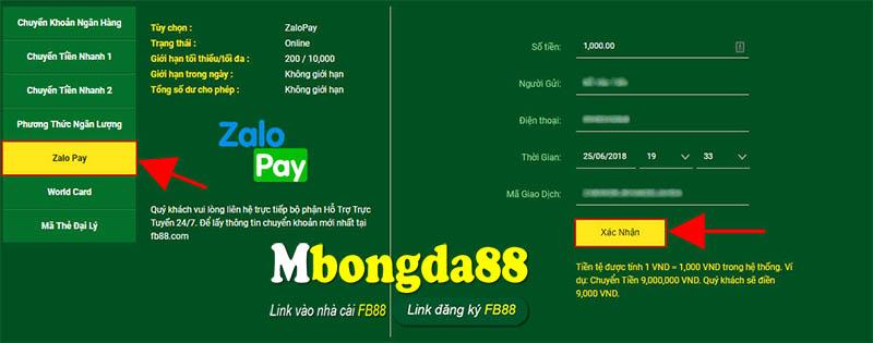 chuyển tiền Zalo Pay